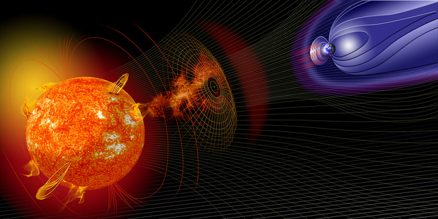 "rtist illustration of events on the sun changing the conditions in Near-Earth space. Credit: NASA Space weather starts at the sun. It begins with an eruption such as a huge burst of light and radiation called a solar flare or a gigantic cloud of solar material called a coronal mass ejection (CME). But the effects of those eruptions happen at Earth, or at least near-Earth space. Scientists monitor several kinds of space ""weather"" events -- geomagnetic storms, solar radiation storms, and radio blackouts – all caused by these immense explosions on the sun. To read more go to: www.nasa.gov/mission_pages/sunearth/news/storms-on-sun.html"