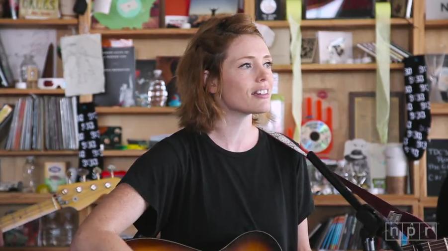 Minnesota musician Haley Bonar performs for NPR's Tiny Desk concert series. (screenshot)