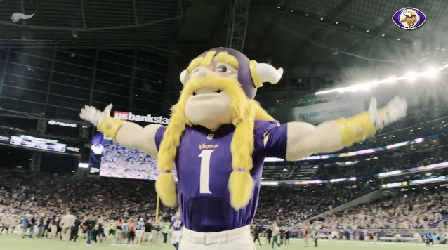 Screenshot from Minnesota Vikings video on the Icelandic chant they have adopted for home games. (Vikings.com)
