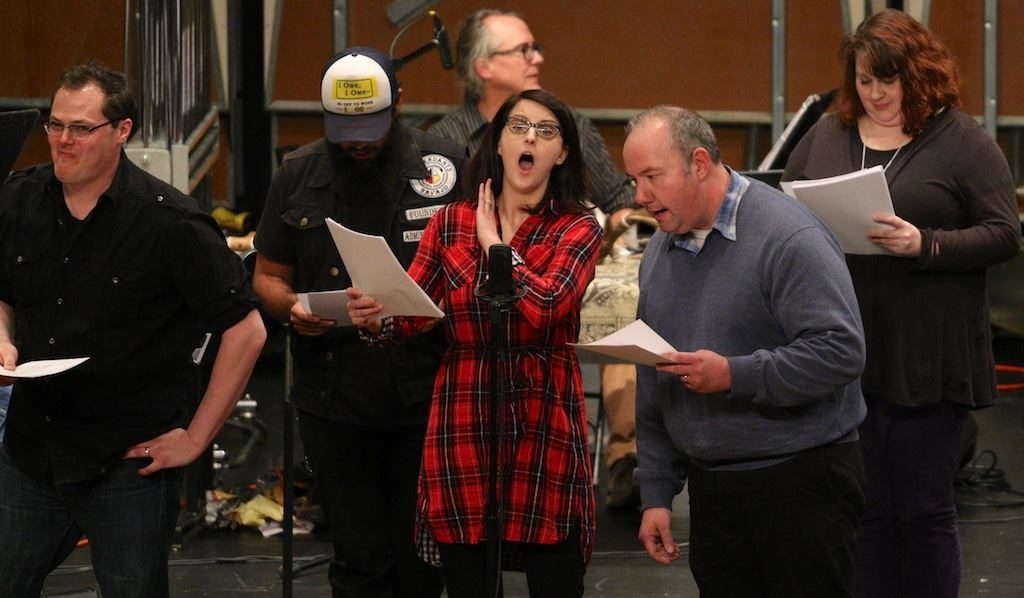 The Great Northern Radio Players perform a sketch during the Great Northern Radio Show in Duluth on Saturday, Nov. 12, 2016.