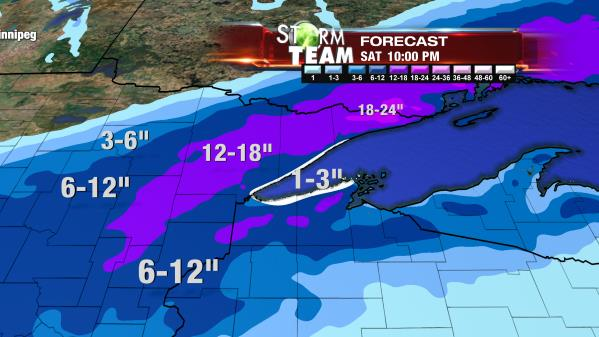 The Nov. 17 prediction of Northern Minnesota's first 2016-2017 snow storm. (WDIO)
