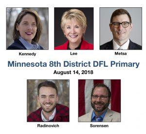 Five candidates seek the 2018 DFL nomination in Minnesota's 8th Congressional District.